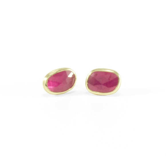 nishnabotna gold rose cut ruby stud earrings