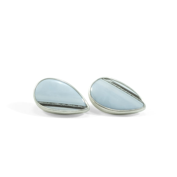 nishnabotna silver stud earrings with blue lace agate