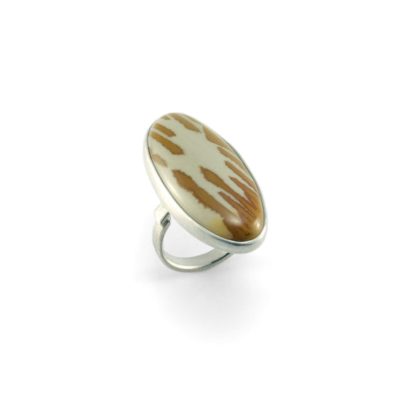 nishnabotna silver boyer ring with oval orgeon jasper