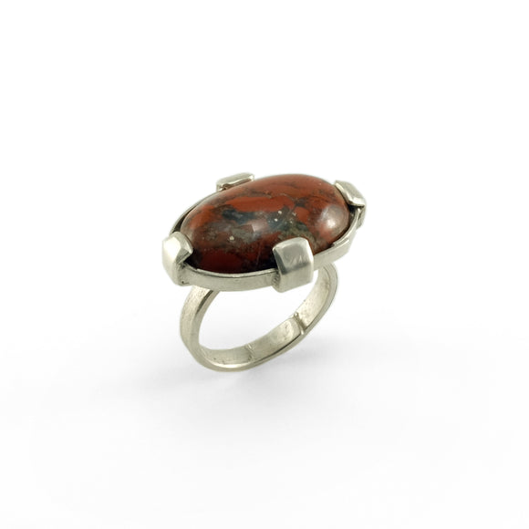 nishnabotna silver boyer ring with red iron jasper