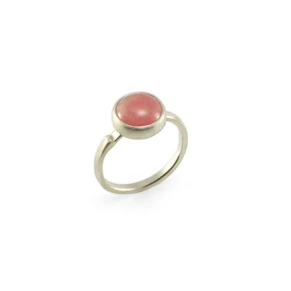 nishnabotna silver boyer ring with round rhodochrosite