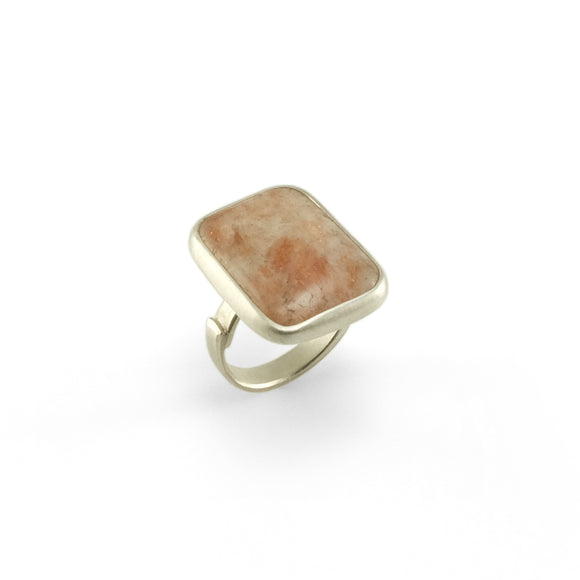 nishnabotna silver boyer ring with rectangle rhodochrosite