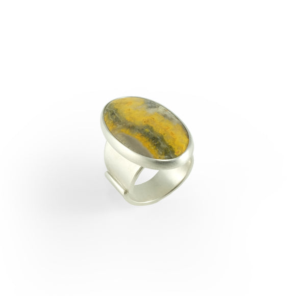 nishnabotna silver boyer ring with yellow bumblebee jasper
