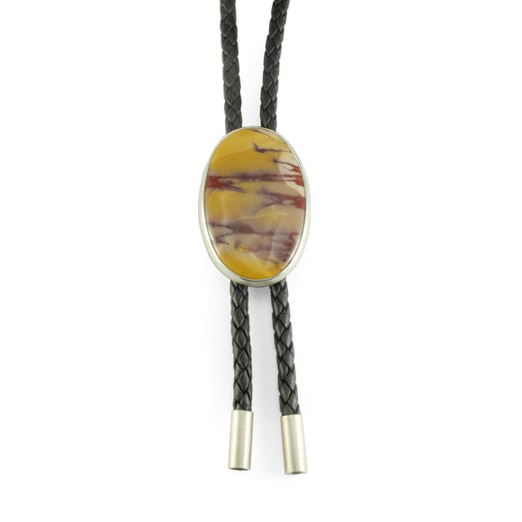 nishnabotna silver bolo tie with mookite jasper on black leather