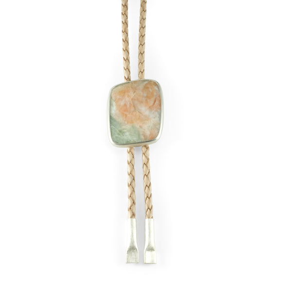 nishnabotna silver bolo tie with pink and green stibilite on leather
