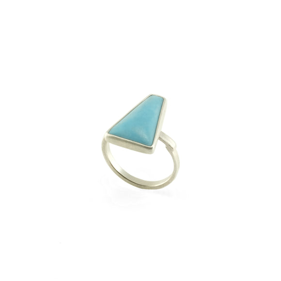 nishnabotna silver ring with geomoetric turquoise
