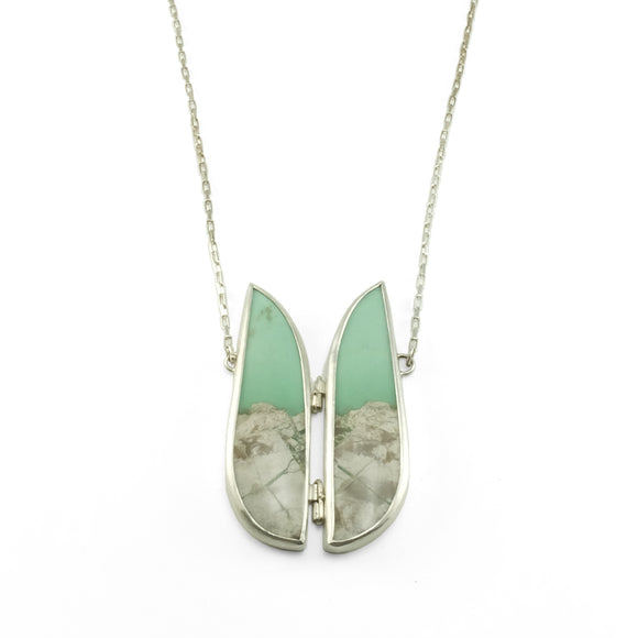 nishnabotna silver utah variscite necklace with mountain landscape