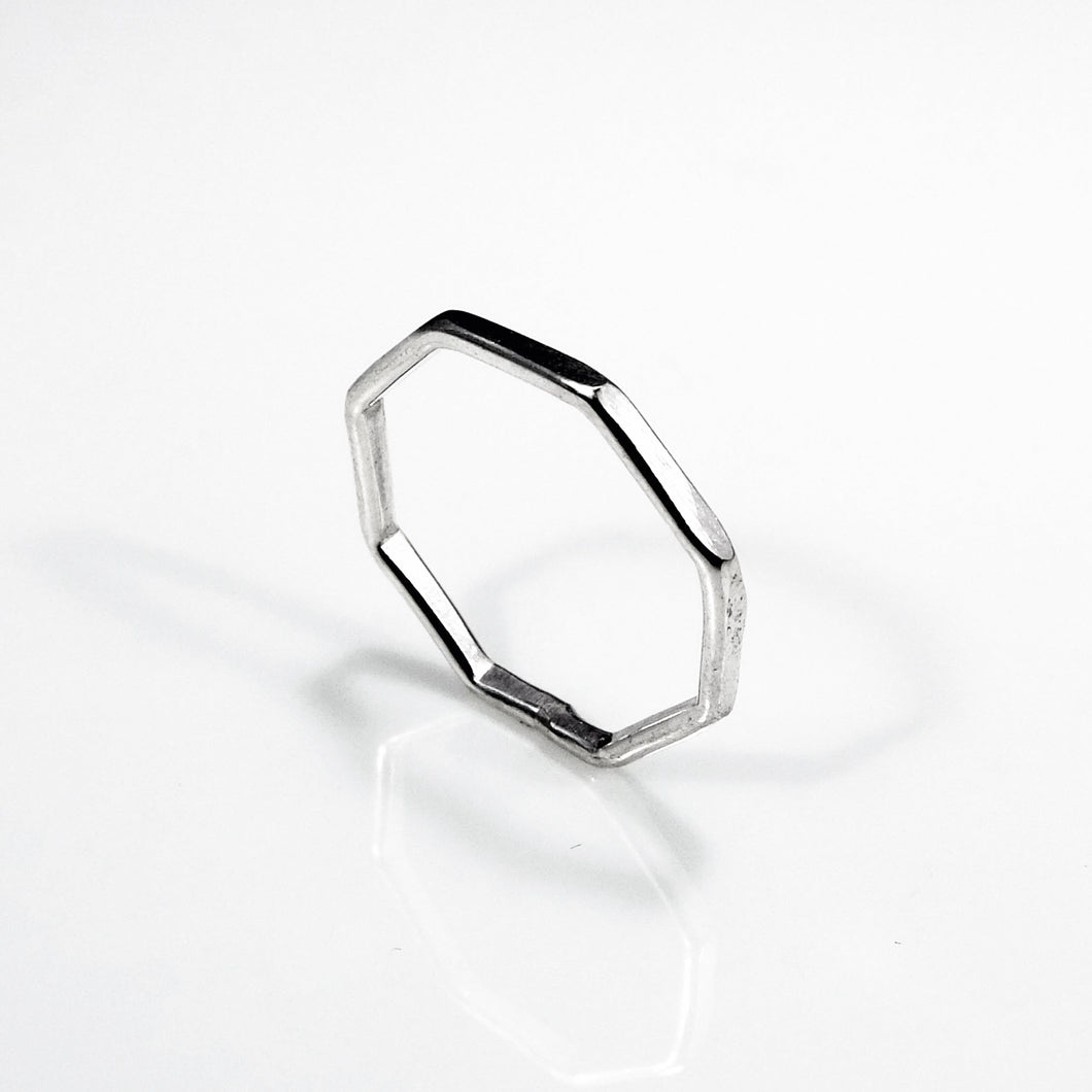 Sterling silver hexagon stackable ring.