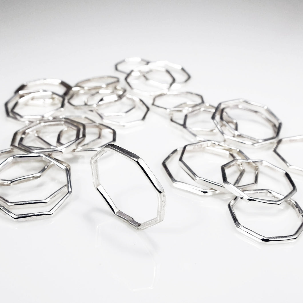 Sterling silver hexagon rings, perfect for stacking.
