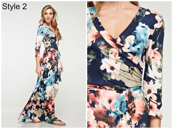 Stunning Floral Wrap Maxi Dress