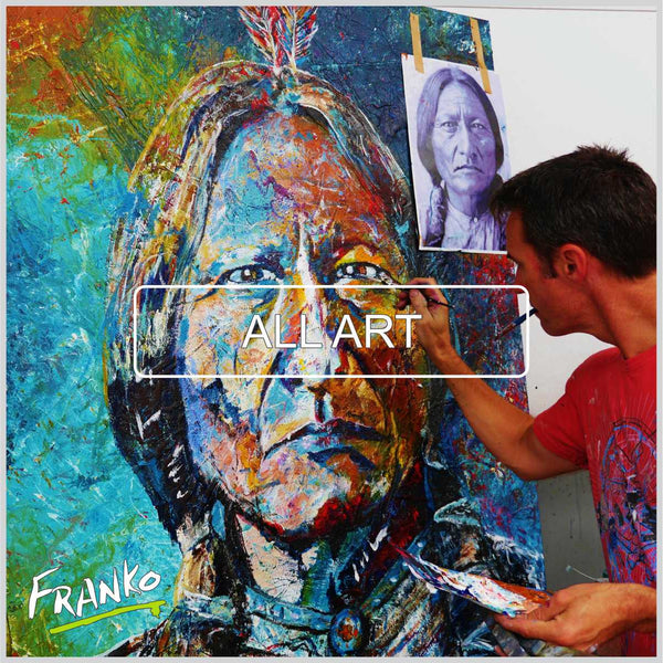 Sitting Bull painting Abstract Realism Franko