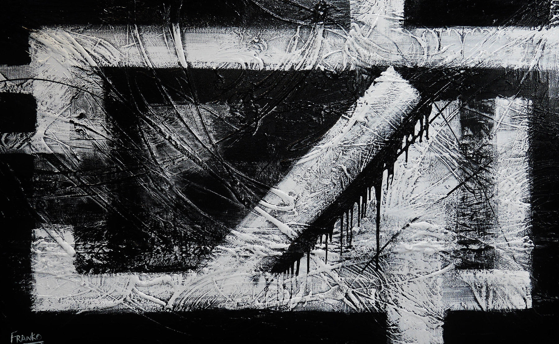 Geometry squared 160cm x 100cm black white