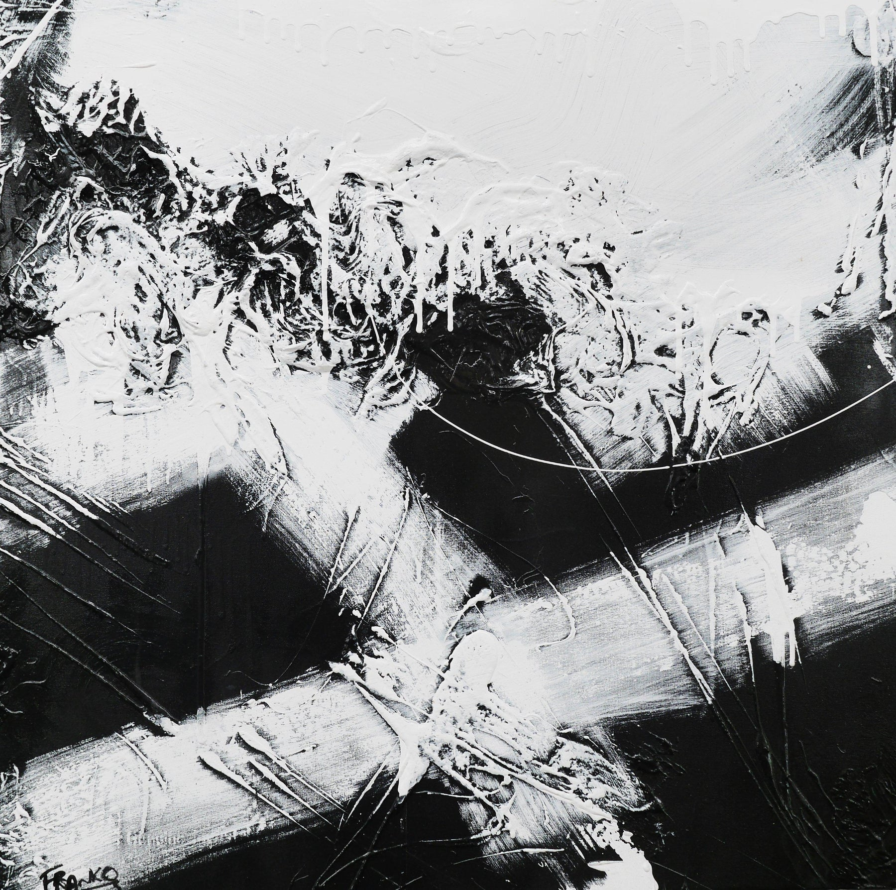 White jazz 100cm x 100cm black white abstract painting