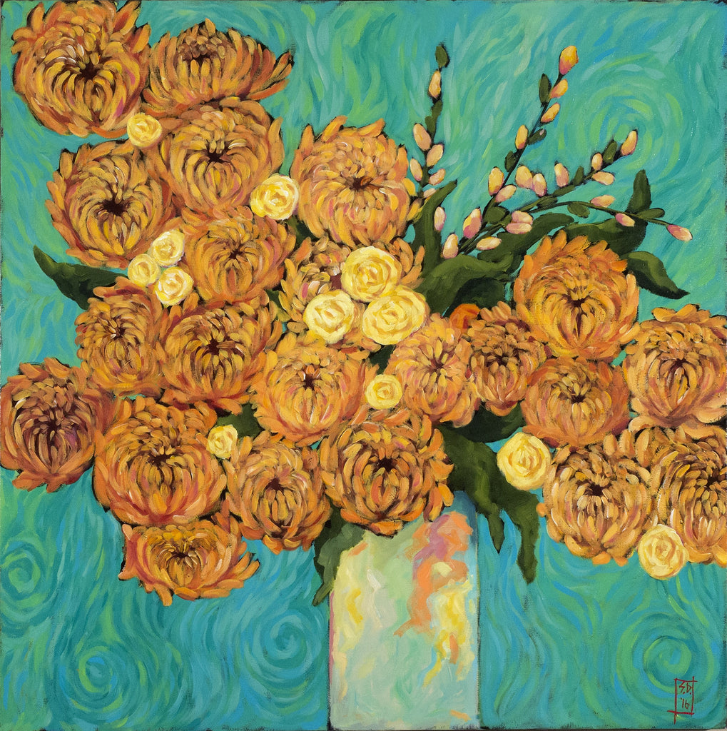 Chrysanthemums on Turquoise