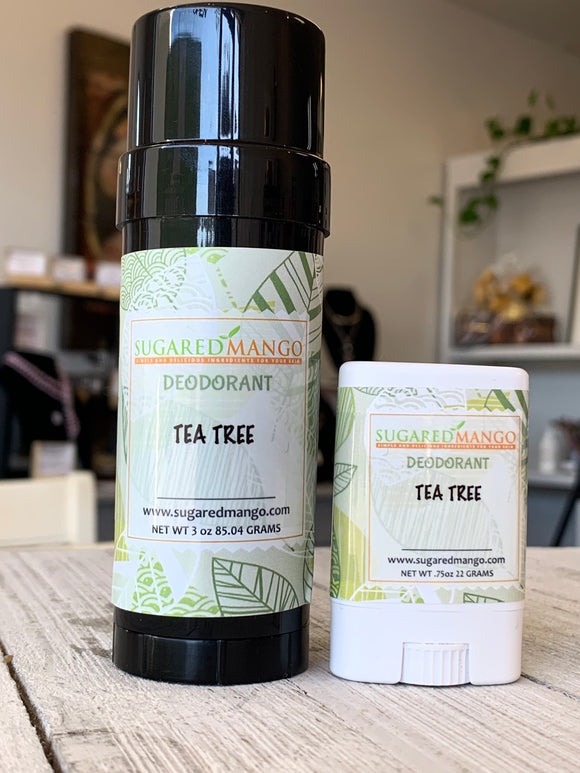 Picture of Tea Tree deodorant in two sizes by sugared mango