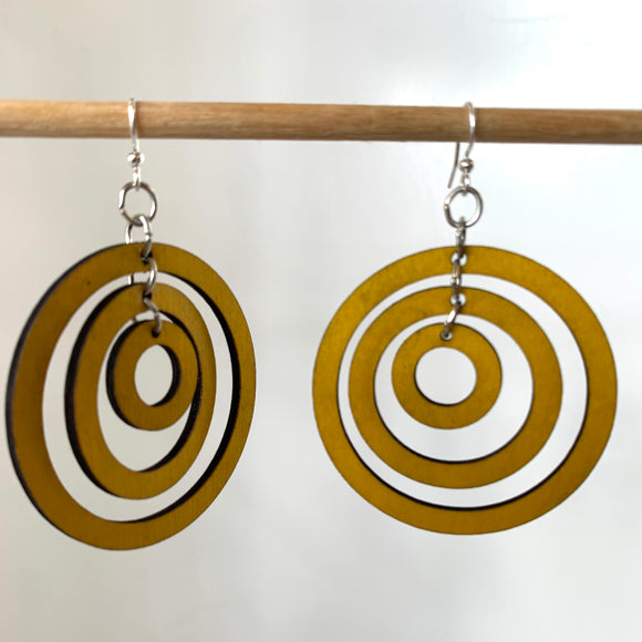 Yellow circle earrings