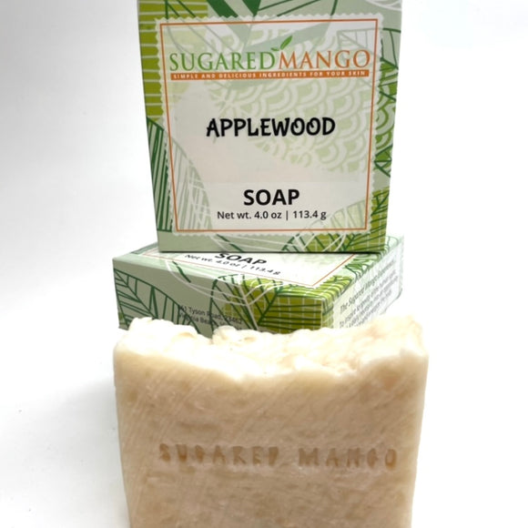 Applewood Soap with a hints of Fir Needle scent made with Shea and Cocoa butter.