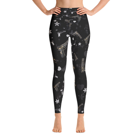 A Trendy Gun Pattern Black Yoga Leggings