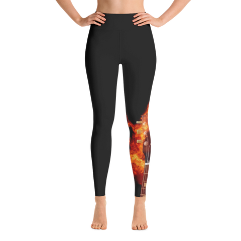 Black Fire Guitar Yoga Leggings