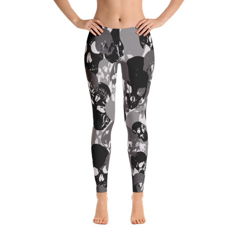 Black-Gray Skull Leggings