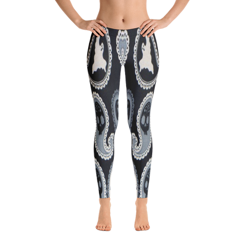 Black Ghost Print Leggings