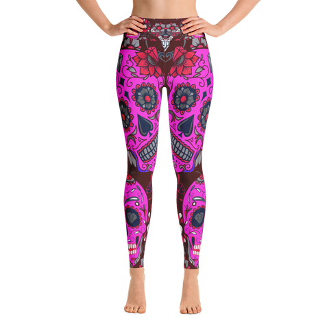 Pink Sugar Skulls Yoga Leggings
