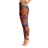 Orange Sugar Skulls Yoga Leggings