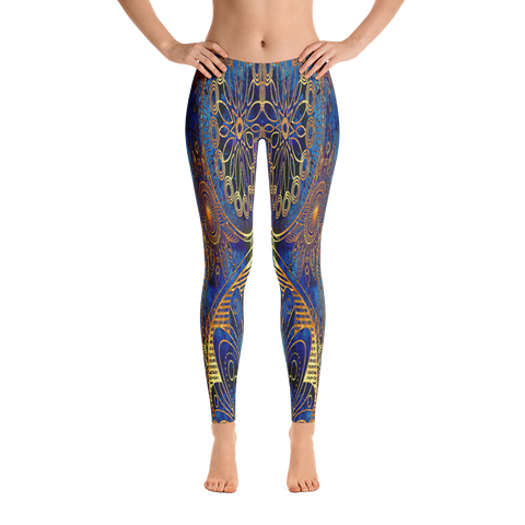 Blue Vintage Traditional Leggings