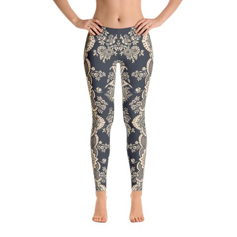 Dark Gray Trendy Artwork Leggings