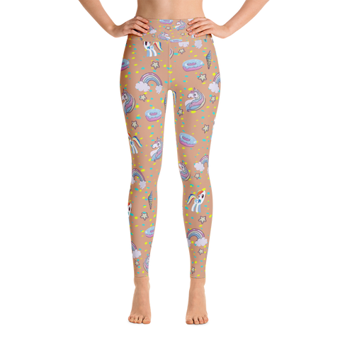 Unicorn Yoga Leggings - Tan