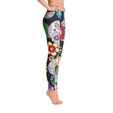 Black Skull With Flower Print Legging