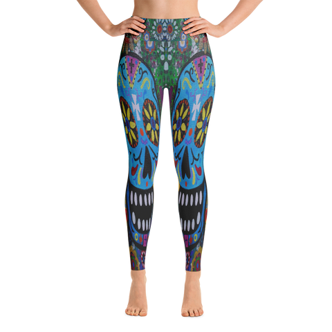 Multicolor Sugar Skulls Yoga Leggings