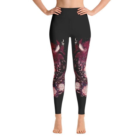 Art Girl Face Dark Red Light Yoga Leggings