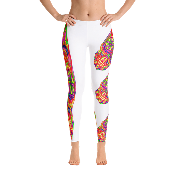 White Sugar Dead Skull Leggings
