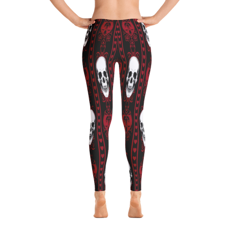 Vintage Skull Leggings - Red
