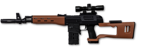 MG100 with Dragunov SVD Kit and Magfed Maker Bloc Optics Rail Mount in Black and Brown/Wood