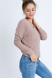 Mauve Twist Back Sweater  Roselynn's