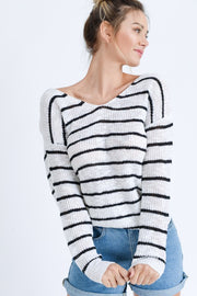 Striped Twist Back Sweater  Roselynn's
