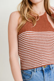 Rust Striped Crop Tank  Roselynn's