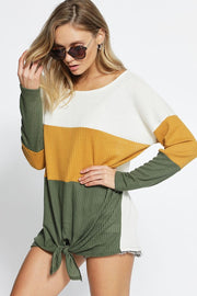 Thermal olive color block top  Roselynn's