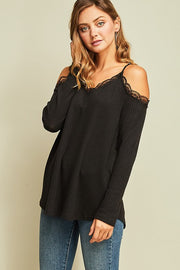 Black lace thermal top  Roselynn's