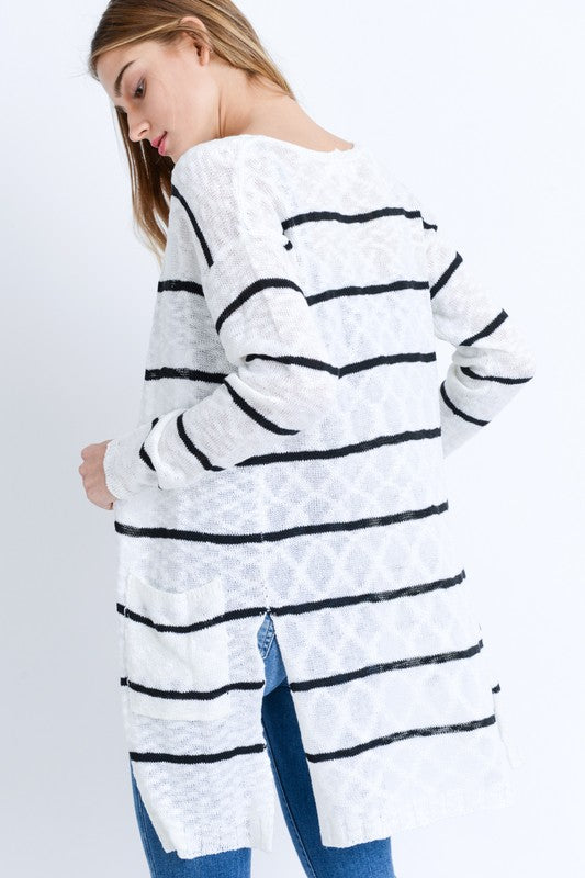 Striped Pocket Cardigan  Roselynn's