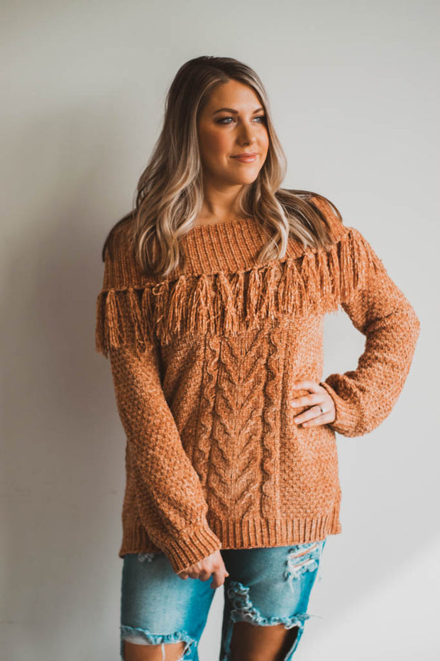 Fringe Cable Knit Off Shoulder Sweater  Roselynn's