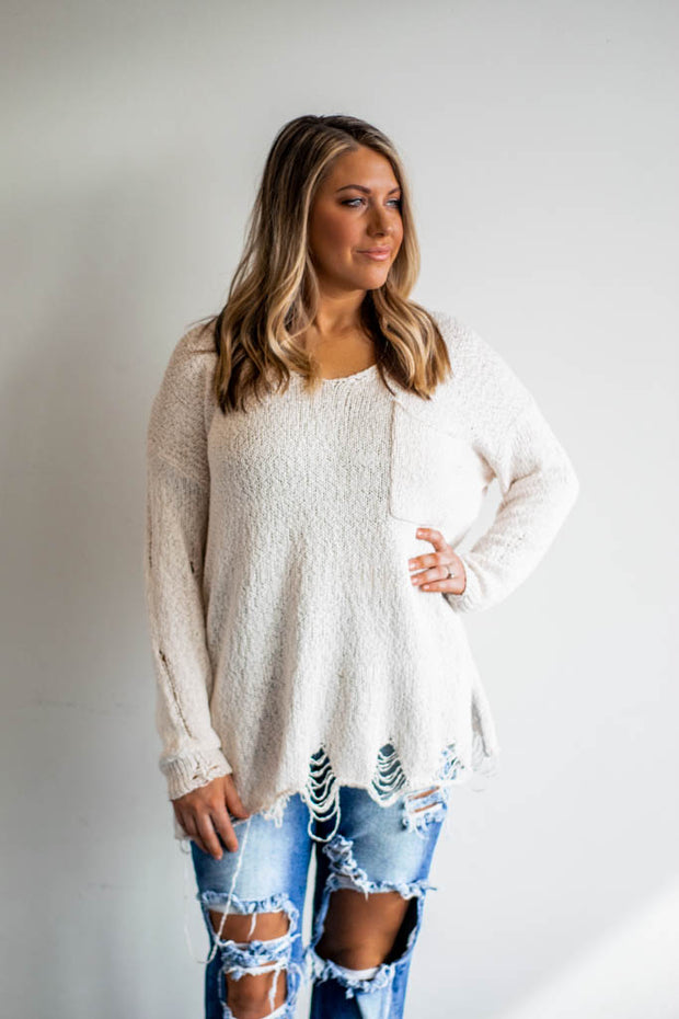 V neck ripped pocket sweater  Roselynn's