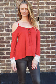 Bohemian Dreams Rust Cold Shoulder Top  Roselynn's