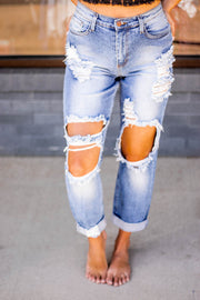 Distressed Mom Jeans  Roselynn's