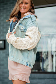 Sweater Sleeve Denim Jacket  Roselynn's