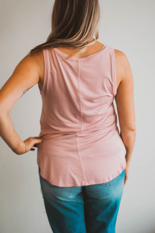 Basic V neck Tank (desert rose)  Roselynn's