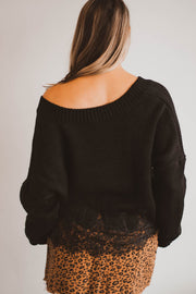 Black Lace Hem V Neck Sweater  Roselynn's