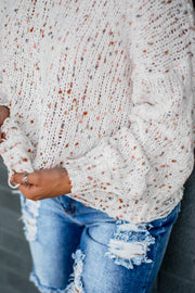 Ivory Confetti Distressed Sweater  Roselynn's
